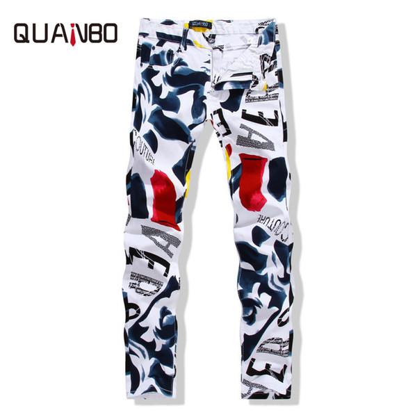 QUANBO Big size 28-44 2016 New white jeans men Fashion Printed slim straight jeans hombre Casual Debris Pattern stretch