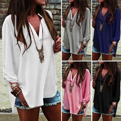 top popular Women Chiffon Blouse Shirts Casual Summer V Neck European Irregular Pleated 3 4 Sleeve Plus Size S- 5XL Fashion Tops 2021