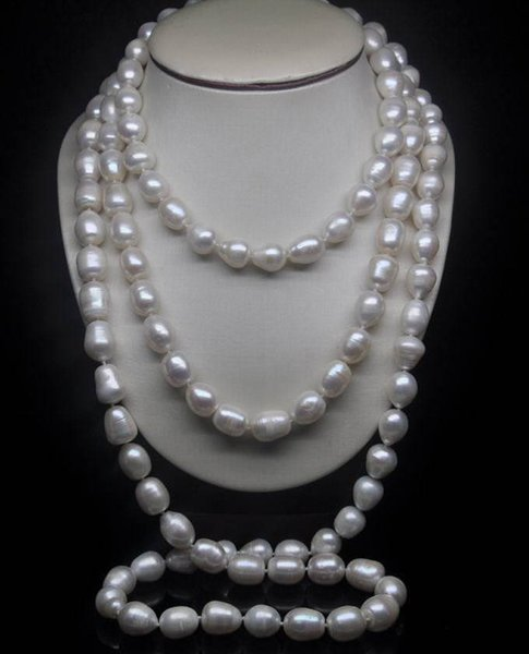 """Beautiful Charming HOT 9-10MM NATURAL SOUTH SEA WHITE PEARL NECKLACE 48""""AAA"""