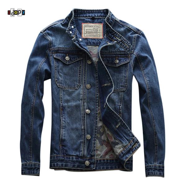 Idopy Spring Summer New Men `s Jean Jacket Motorcycle Stand Collar Moto Slim Fit apenado Biker Jean Denim Chaqueta para hombre