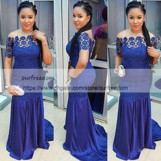 2019 South Africa Royal Blue Lace Evening Dresses Bateau Neck Short Sleeve Mermaid Formal Evening Occasion Dresses Prom Gown Custom Made