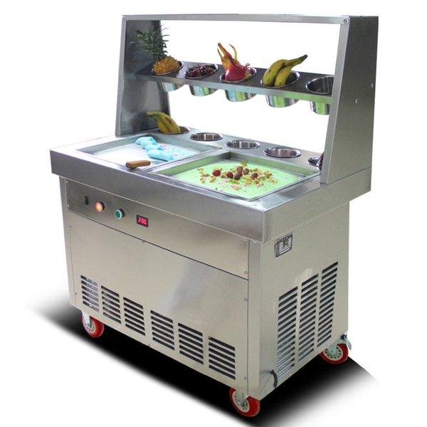 BEIJAMEI Double Square Pan Yogurt Fried Machine Commercial Fry Ice Cream Frying Machine Ice Cream Roll Making Machine