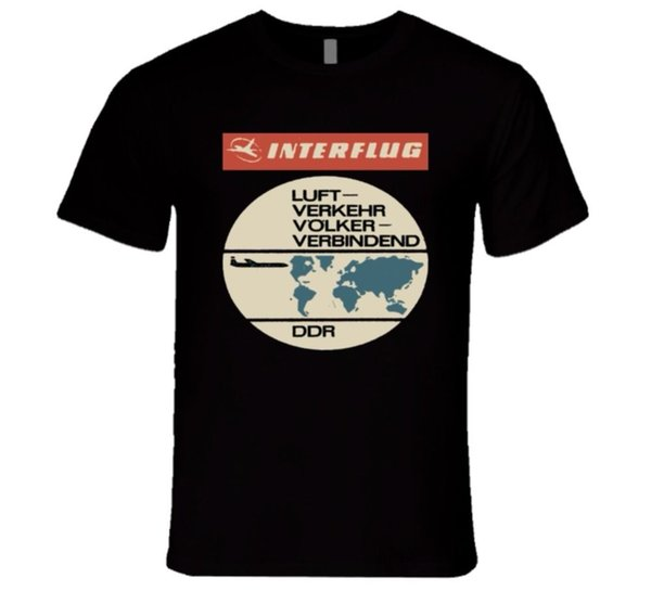 Cool Funny T Shirt High Quality Tees EAST GERMAN AIRLINE LUFT VERKEHR VOLKER T Shirt Hip-Hop Casual Clothing