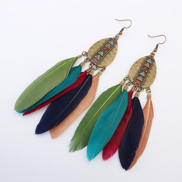 best selling Long Section Bohemian Ethnic Wind Manual Ear Jewelry Feather Earrings 6 Styles Drops Tassel Earrings For Women Fashion Gift