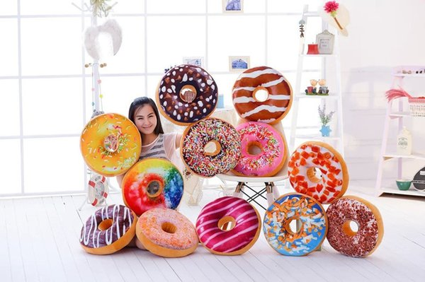 best selling Sweet Donut Foods Cushion pillowcase Cute Soft Plush Pillow Stuffed Seat Pad throw pillow covers Case Toys pillowcase