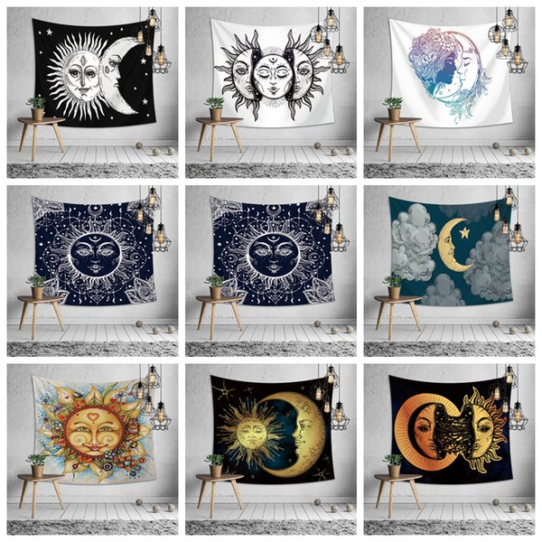 150 * 130 CM Sun Moon Face Print Tapiz Colgante de pared Playa Picnic manta manta manta decoración exterior yoga niños estera 9 estilos AAA1234