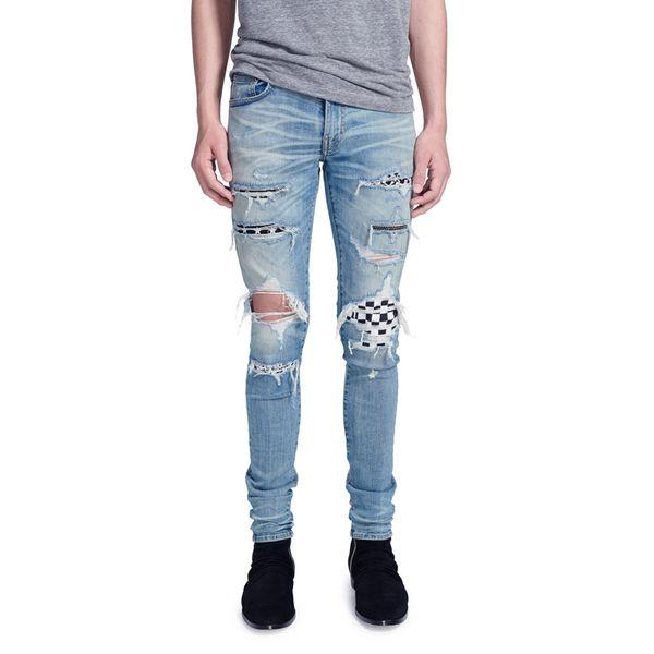 Fashion Streetwear Men's Jeans Blue Color Elastic Skinny Fit Destroyed Ripped Jeans Homme Punk Pants Stretch Hip Hop Men