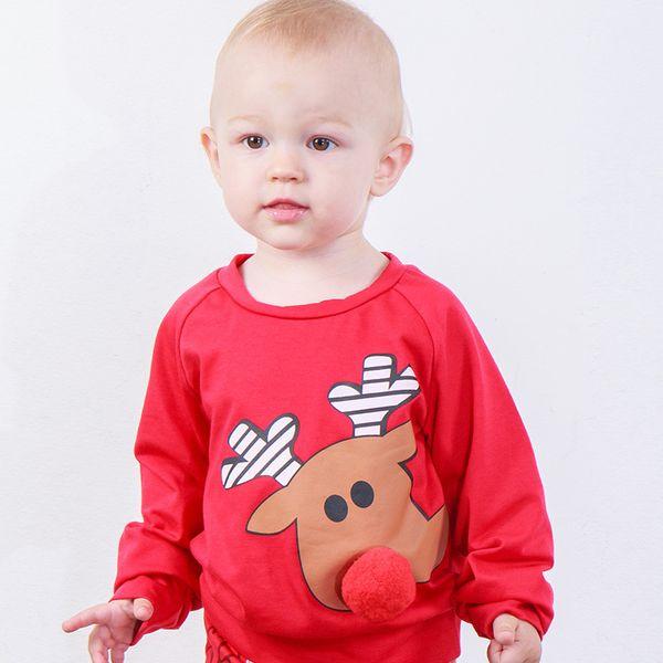 Bebê Camisola Do Natal Pullover Rena Nariz de Pelúcia Elk Impresso Recém-nascido Menino Roupas de Grife Outono Inverno Casaco Crianças Boutique Tops Tees