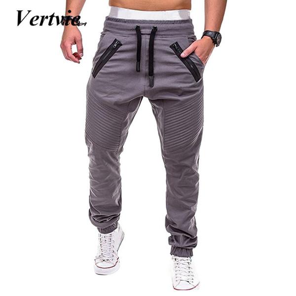Vertvie Men Running Pants Multi-pocket Pants Sweatpants Joggers Drawstring Joggers Solid Male Trousers