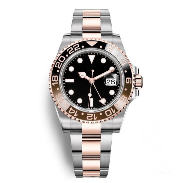 New Ceramic Bezel GMT II AAA Watches Luxury Brand Automatic Watch Silver Rose Gold Original Clasp Mens Women's Fashion Master Reloj Watches