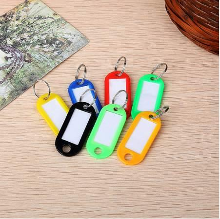 100PCS/Lot Assorted Coloured Plastic Key Ring ID Tags Name Card Language Fob Label Free Shipping