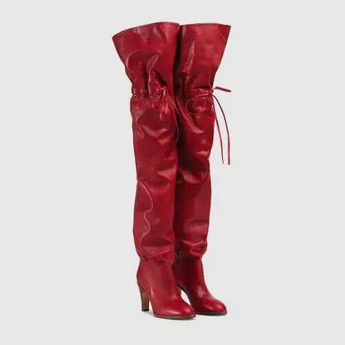 Prom Heels Hohe Schwarz Worte Luxus Pumps Schnüren Oberschenkel Großhandel Druck Party Leinwand Stiefel Womens Rot Overknee Designer High HE2IWD9