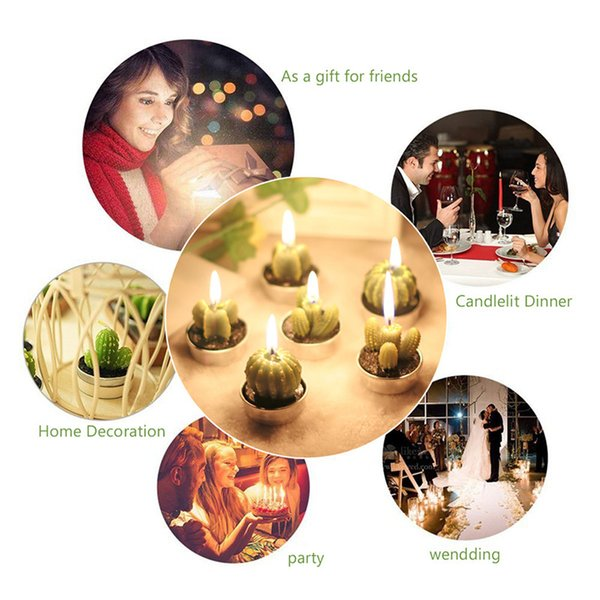 6pcs/set Cactus Candle Decorative Tea Light Candles for Xmas Party Hallowmas Wedding Decoration Birthday Candles