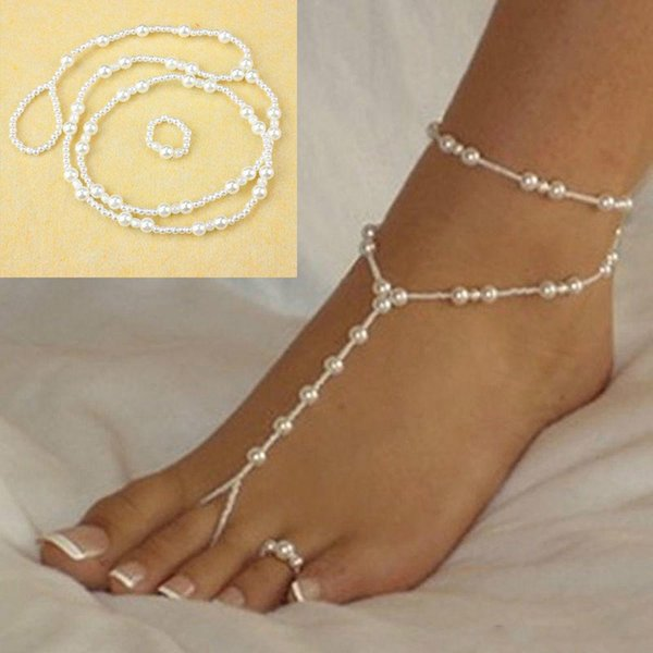 Fashion Wedding Foot Chain Jewelry Anklet Chains Women Beach Imitation Pearl Barefoot Sandals Foot Jewelry Crystal Sandals Anklets Bracelet