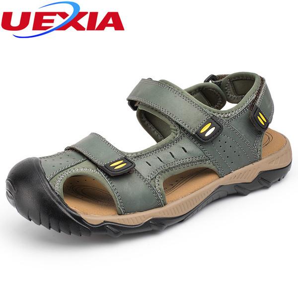 Sandali uomo in pelle Zapato Punta chiusa Scarpe estive fatte a mano da  spiaggia moda casual 6cb1a858ae4
