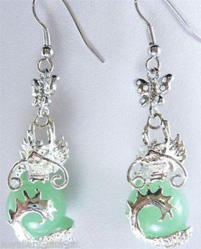 Belle boucle d'oreille en jade vert Dragon Livraison gratuite