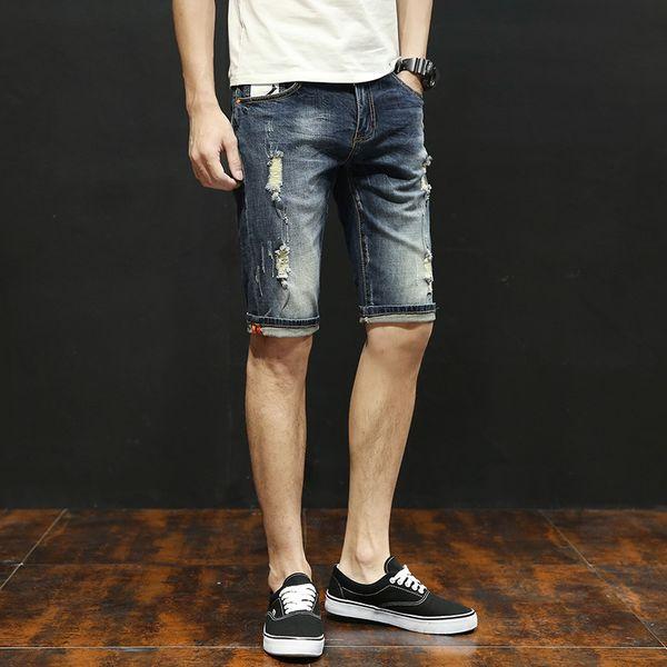 15f3fd707 Summer Men Jean Shorts Half Knee Length Ripped Draped Holes Elastic Shorts  Washed Vintage Jeans
