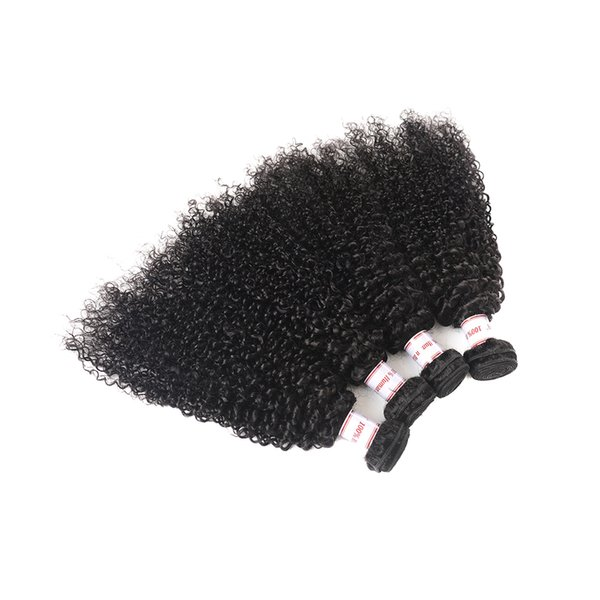 Indian Kinky Curly Human Hair 4 Bundles 100% Unprocessed Indian Hair Kinky Curly Hair Extensions Natural Black