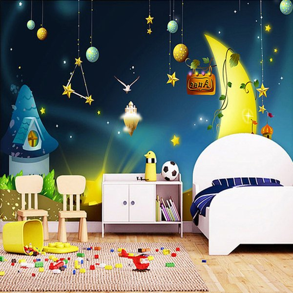 Arkadi Custom 3D Photo Wallpaper For Kids Cartoon-style Picture Stars Moon Kids Room Sofa TV Background Mural Wall Paper