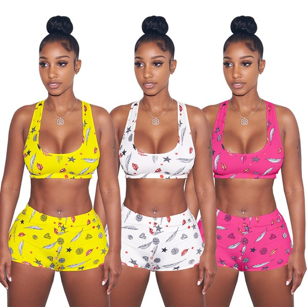 Lip Leaf Print Women Tracksuit Cropped Tank Top and Shorts Sporting Two Piece Set Gym Fitness Outfits Sexy Club Suits