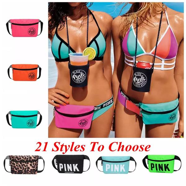 top popular Pink Beach Travel Waist Bag Pack Fanny Cross Body Bag 21 Styles Fashion Beach Travel Bags Handbags Purses OOA5097 2020