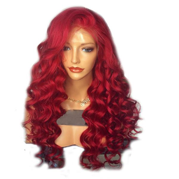 Perruque longue ondulée rouge 180 Densité de corps résistant à la chaleur Vague rouge Lace Front Perruque Cheveux Synthétiques Haute Température