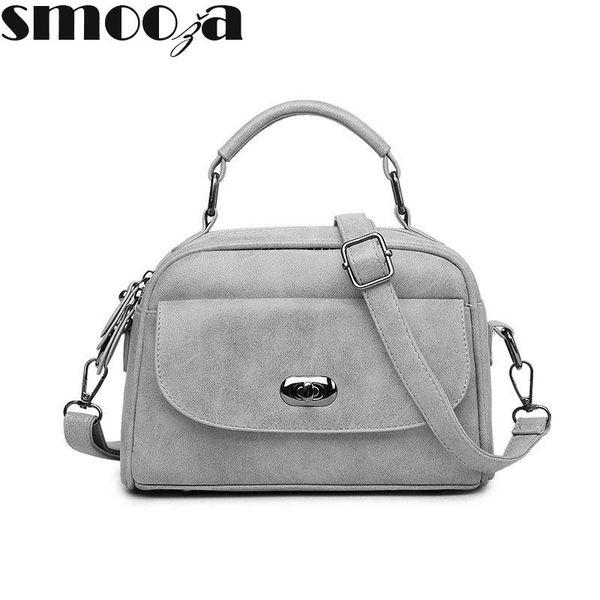 SMOOZA High Quality Numbuck Leather hand bag Women Top-Handbag Fashion lock Women Shoulder Bag Shell Stlye