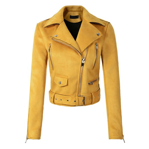 Ailegogo New Autumn Winter Yellow Suede Leather Jacket Women Zipper Belt Short Coat Female Punk Faux Leather Outwear