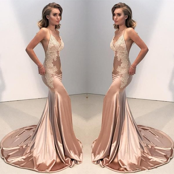 2018 Sexy Cheap Blush Pink Satin Mermaid Long Evening Dresses V Neck Lace Appliques Backless Sweep Train Plus Size Formal Party Prom Gowns