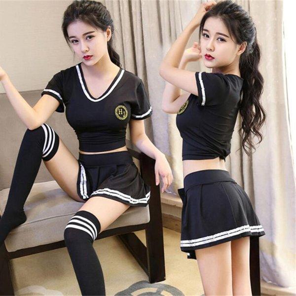 Hochwertige Fußball Baby Schulmädchen Sexy schwarze Frau Nachtclub Overalls Strumpfhosen kurzen Rock Strümpfe Anzug Pyjamas