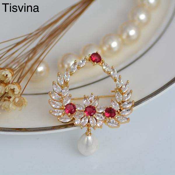 Tisvina Blume Broschen Perle Alle Big Bling Zirkon kristall für frauen Corsagen Pullover Anzug Zubehör Pins Modeschmuck Geschenk