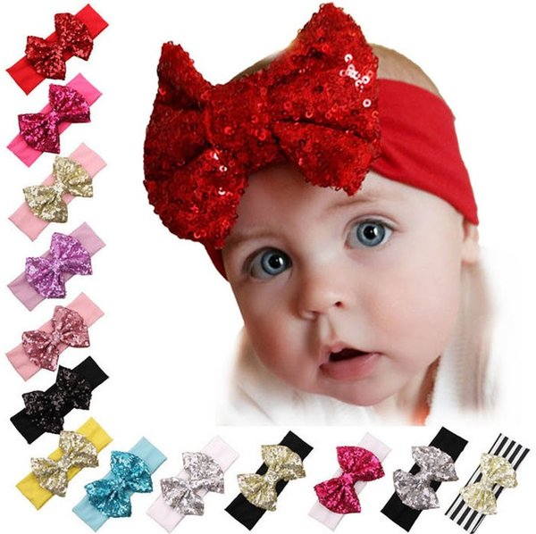 Fashion elastic children headband cute sequins bow baby cloth headband baby girls beautiful bow hairband girl hair accessories 13 colors
