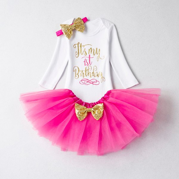 It's My First Baby Girl Sets Gold Cake Smash Outfits Tops Dress for Girls 1st Birthday Party Baby Clothing Sets 12 Months Wear