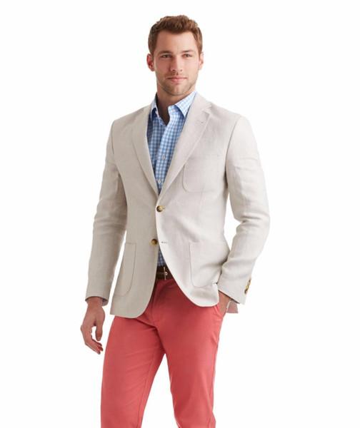 Los últimos diseños de la capa de la chaqueta de marfil de lino Casual personalizado mejor hombre Slim Fit Beach hombres trajes de verano Blazer 2 unidades de esmoquin Masculino