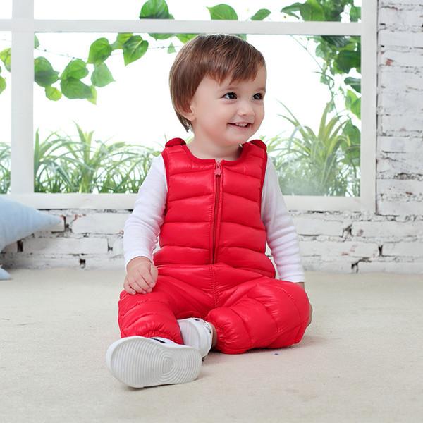 1-5Yrs Winter children kids down cotton bib pants for girls overalls Autumn toddler boys warm baby kids waterproof trousers