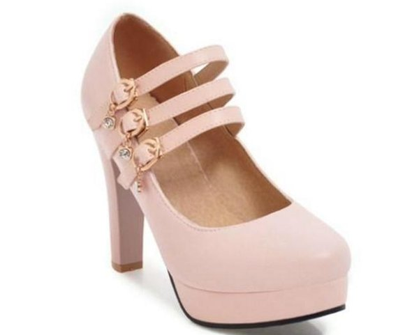 Free send Hot Waterproofing table Coarse heel high large size women shoes 40-46 small size 33