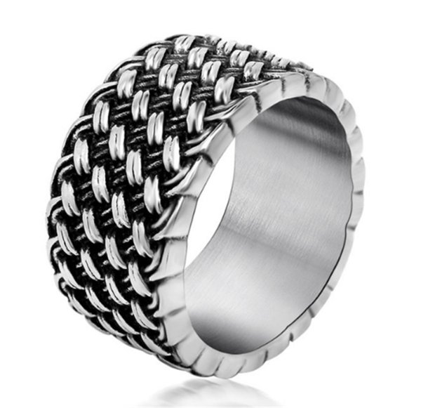 Retro Love Intertwined Ring Retro Woven Men's Ring Personality Domineering Metal Braided Male