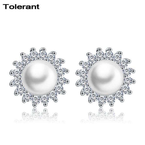 2pcs Sun shape women stud earring 925 silver big white pearl decoration earings round shape girl earrings jewelry ZES00613 C18111901