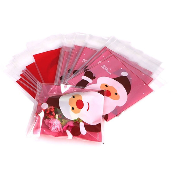 100pcs pack christmas santa claus clear cellophane bag shopping bag gift cookie candy fudge self adhesive