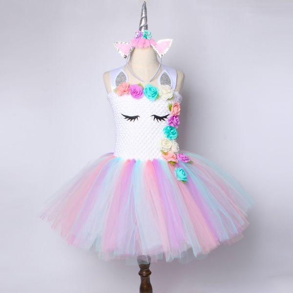 Girls Dress Princess Rainbow Princess Unicorn Tutu Dress With Headband Christmas Halloween Costume Kids Girl Party Dress