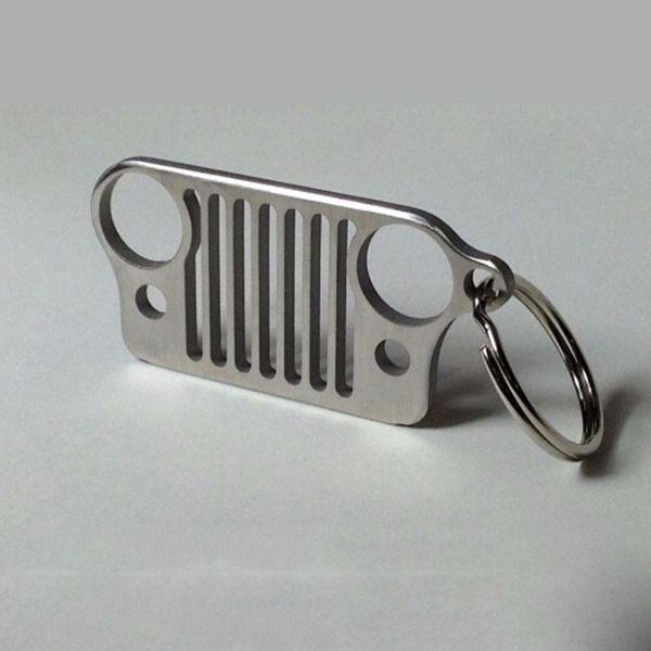 Haute Qualité Porte-clés Porte-clés En Acier Inoxydable Grill Porte-clés Porte-clés Pour Jeep Grill Porte-clés CJ JK TJ YJ XJ Nouveau