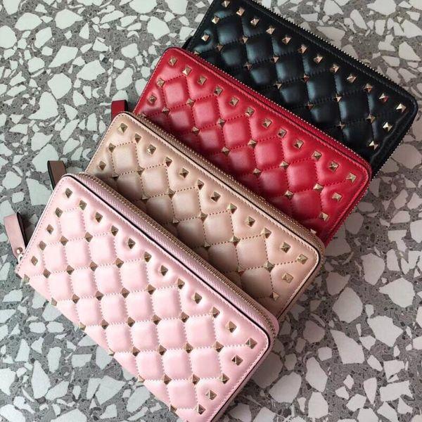 Hot 2018 famous top lamb skin rivets long zipper wallet 7A best quality garavani Rock Studs spike lady fashion purse free shopping