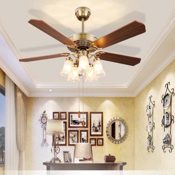 Modern LED Ceiling Fans light creative home lights wooden iron bedroom living room color changing fans lamps with remote control