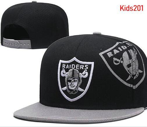 Venta al por mayor Niños niños Ajustable Moda Bordado Raiders Sombreros del Snapback Sombrero de fútbol de verano al aire libre Viseras de sol Chicos baratos AD Basketbal