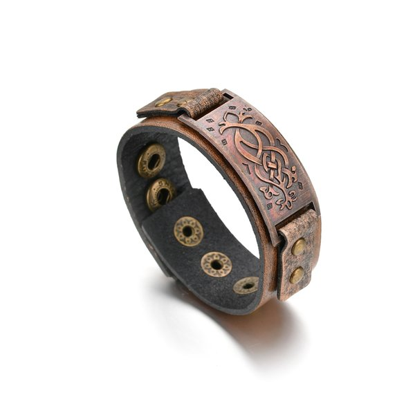 Punk Brown Color Wide Leather Bracelets Bangles For Men Vintage Alloy Flower Pattern Cuff Bangles Male Cool Fashion Jewelry 2018