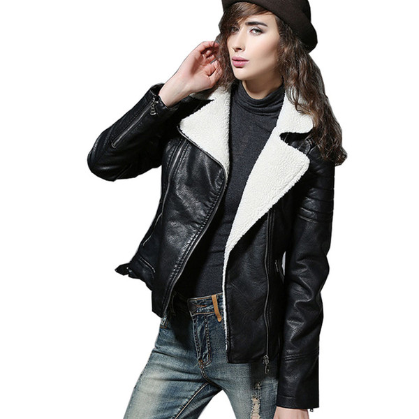 Wholesale- 2017 Shearling Sheepskin Coats Black Leather Jacket Women Short Thick Lamb Wool Fur Collar Padded Winter Motorcycle Biker Coats