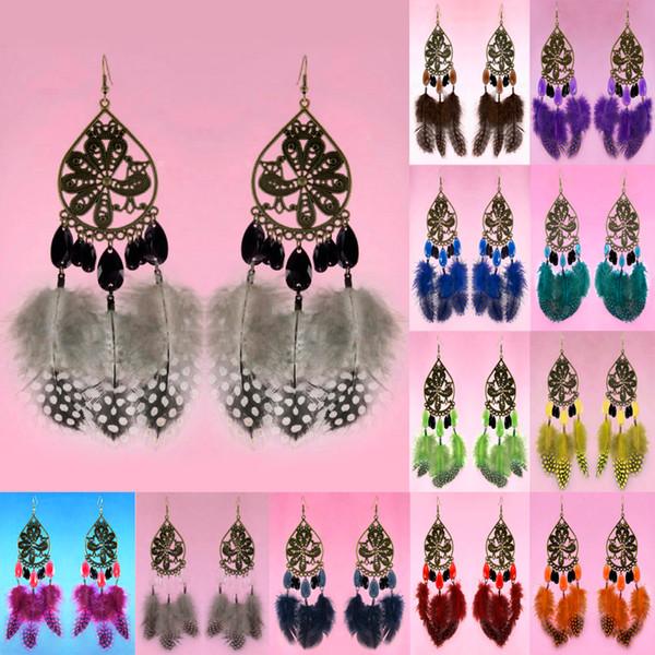 Brincos de penas 12 cores lotes por atacado Sheer Tear Bead Pavão Lustre Eardrop Hot (Branco Preto Vermelho Deep Pink Laranja Céu Azul) (JF230)
