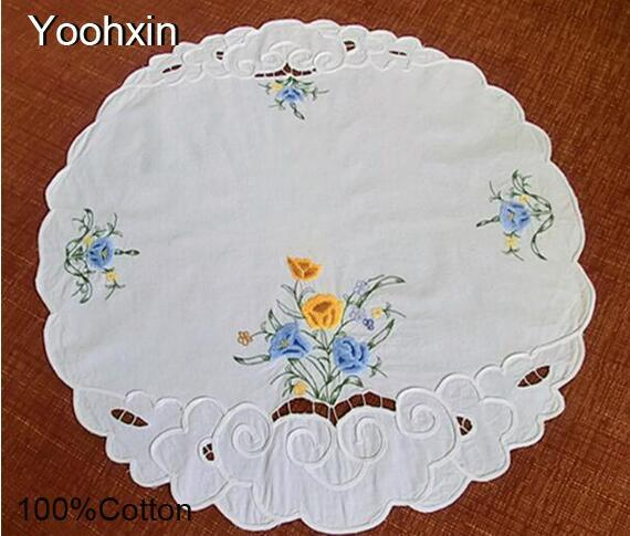 3D Pastoral cloth floral embroidery placemat 58cm cotton coffee coaster dining table place mat doily Christmas pad Cover towel