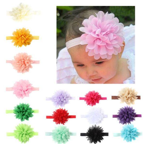 15 colors Baby Headbands Peony Flower Elastic Chiffon Ribbon bow Headband Children Hair Accessories Kids Cute Hairbands for Girls Nylon Bow