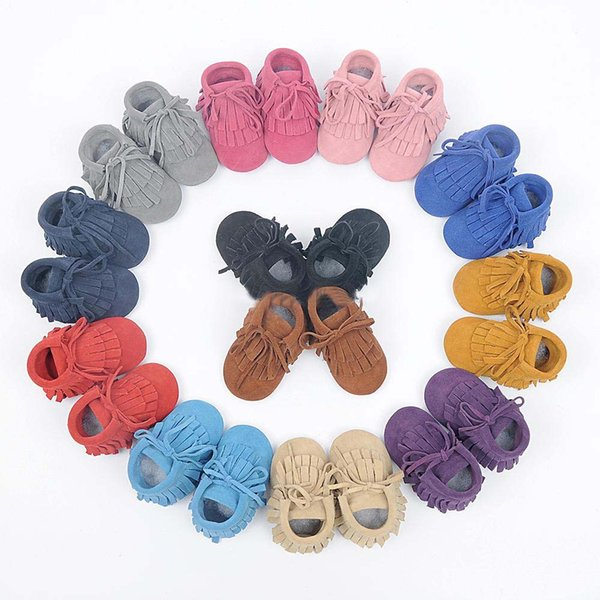 Baby moccasins soft sole 100% genuine leather first walker shoes baby leather newborn shoes Tassels maccasions boot/bootie Solid Color